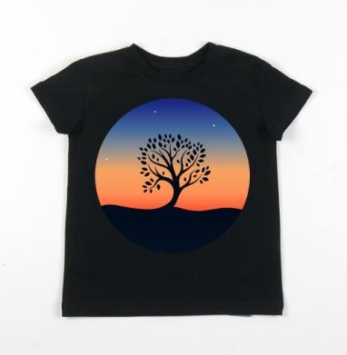 Детская футболка черная хлопок с лайкрой 140гр - Наедине с собой