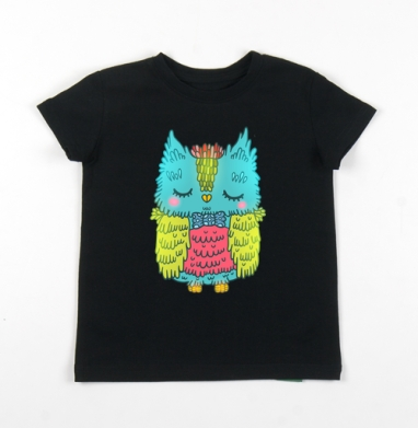 Детская футболка черная хлопок с лайкрой 140гр - Совушк