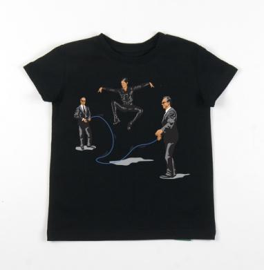 Детская футболка черная хлопок с лайкрой 140гр - The SKIPRIX