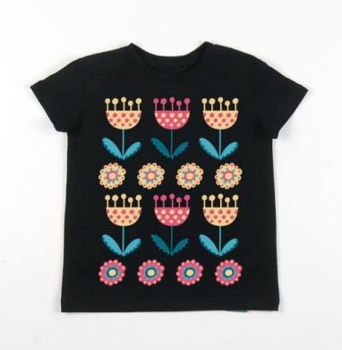 Детская футболка черная хлопок с лайкрой 140гр - Тюльпаны