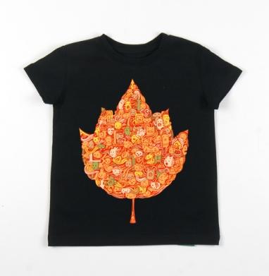 Детская футболка черная хлопок с лайкрой 140гр - У листьев спросим?