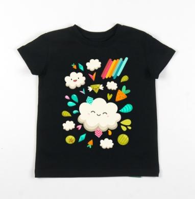 Детская футболка черная хлопок с лайкрой 140гр - Веселье наверху