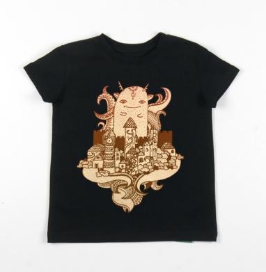 Детская футболка черная хлопок с лайкрой 140гр - Хранитель