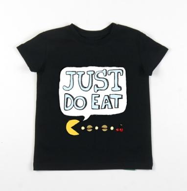 Детская футболка черная хлопок с лайкрой 140гр - Джаст Ду Ит