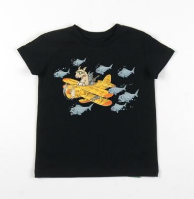Детская футболка черная хлопок с лайкрой 140гр - Мэт и Шитцу на охоте