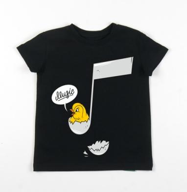 Детская футболка черная хлопок с лайкрой 140гр - Music