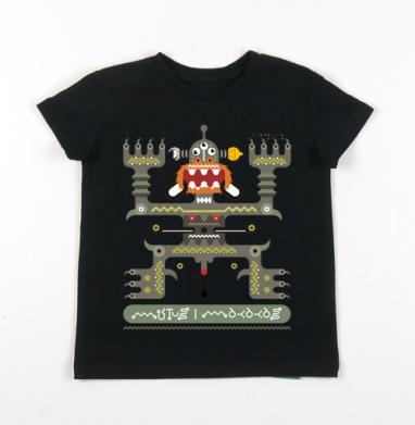 Детская футболка черная хлопок с лайкрой 140гр - Mutusmakakas