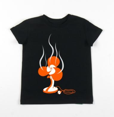 Детская футболка черная хлопок с лайкрой 140гр - Overheating