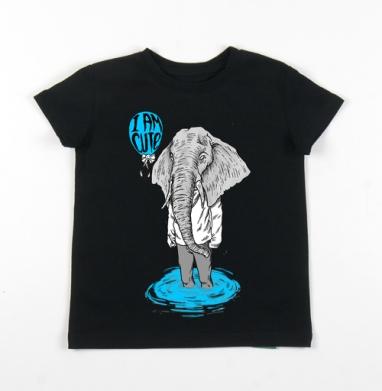 Детская футболка черная хлопок с лайкрой 140гр - Слононяша