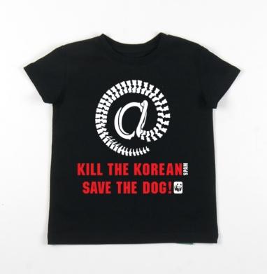 Детская футболка черная хлопок с лайкрой 140гр - SPAM