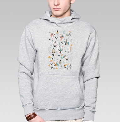 Толстовка мужская, накладной карман серый меланж - Геометриксуккулентс