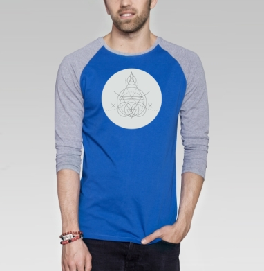 Линейная геометрия - Футболка мужская с длинным рукавом синий / серый меланж, Символ