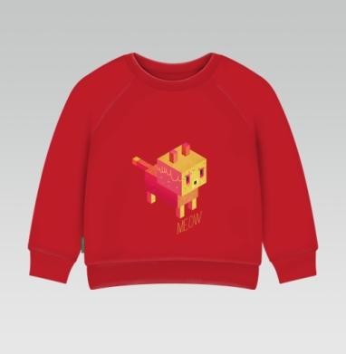 Cвитшот Детский ярко-красный 240гр, тонкий - MEOW