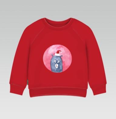 Cвитшот Детский ярко-красный 240гр, тонкий - Новогодние звери