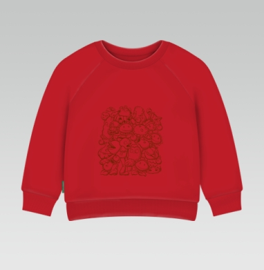 Cвитшот Детский ярко-красный 240гр, тонкий - Зомби против растений