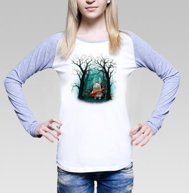 Кролик с морковкой, Футболка лонгслив женская бело-серая