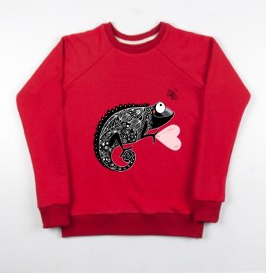 Cвитшот женский красный 240гр, тонкий - Весёлый хамелеон