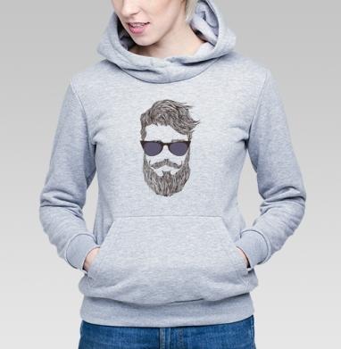 Толстовка Женская серый меланж 340гр, теплая - Борода второе счастье