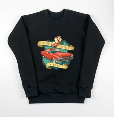 Retro cars club, Свитшот мужской черный 340гр, теплый