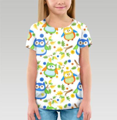 Футболка детская (полная запечатка) - Яркие текстильные совы