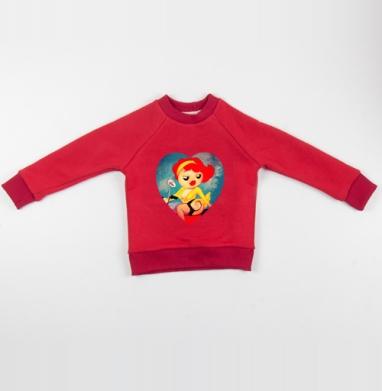 Cвитшот Детский красный 340гр, теплый - Angie