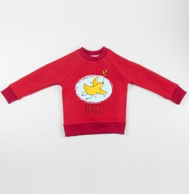 Cвитшот Детский красный 340гр, теплый - Да будет мир
