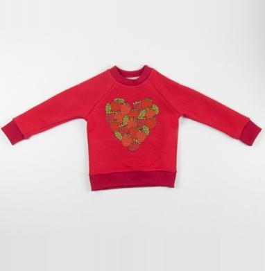 Cвитшот Детский красный 340гр, теплый - Дары лета