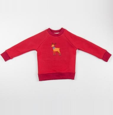 Cвитшот Детский красный 340гр, теплый - Dear Deer