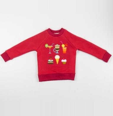 Cвитшот Детский красный 340гр, теплый - Десерт