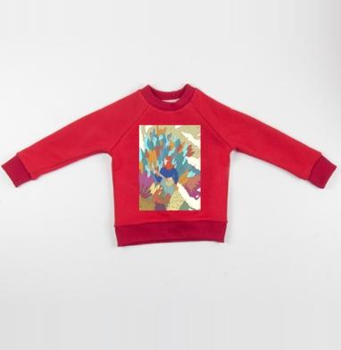 Девушка и укулеле   - Cвитшот Детский красный 340гр, теплый, Популярные
