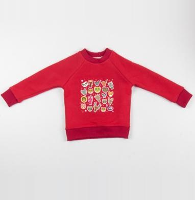 Cвитшот Детский красный 340гр, теплый - Животные панда олень жираф зебра слон лев кот волк лошадь лиса енот