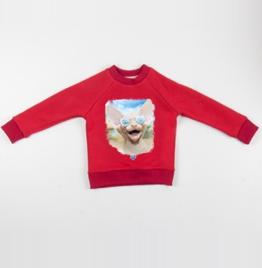Cвитшот Детский красный 340гр, теплый - Курортный роман