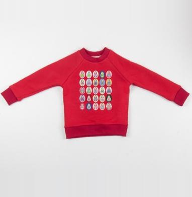 Cвитшот Детский красный 340гр, теплый - Матрешки