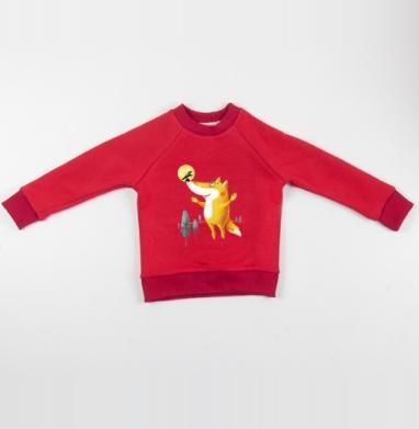 Cвитшот Детский красный 340гр, теплый - Мечтательно-летательное