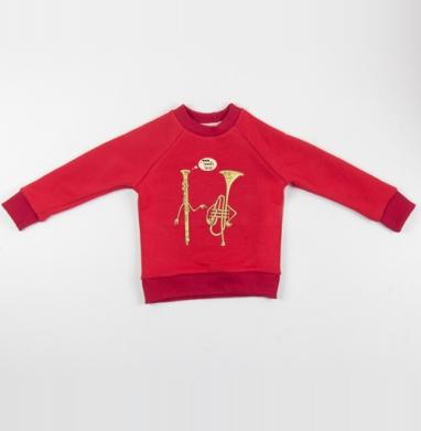 Cвитшот Детский красный 340гр, теплый - МЕЛОДИЯ ЛЮБВИ