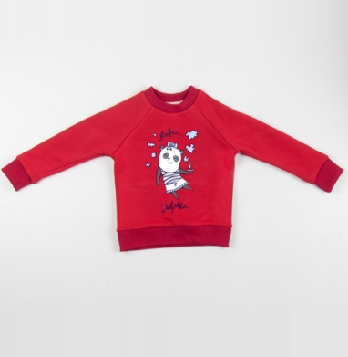 Cвитшот Детский красный 340гр, теплый - Морячки.. (жен.)