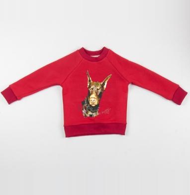 Cвитшот Детский красный 340гр, теплый - Не парься, будь счастлив