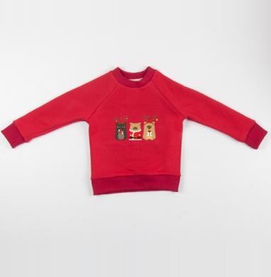 Новогодние радости - Cвитшот Детский красный 340гр, теплый, Популярные