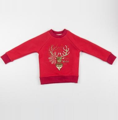 Cвитшот Детский красный 340гр, теплый - Олень