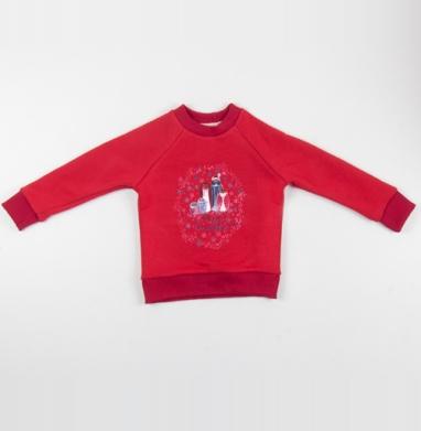 Cвитшот Детский красный 340гр, теплый - Семья совы