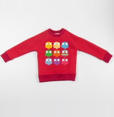Cвитшот Детский красный 340гр, теплый - Совопати