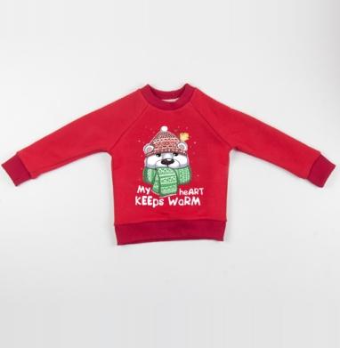 Cвитшот Детский красный 340гр, теплый - Тепло