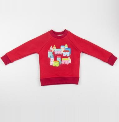 Cвитшот Детский красный 340гр, теплый - Тихий город
