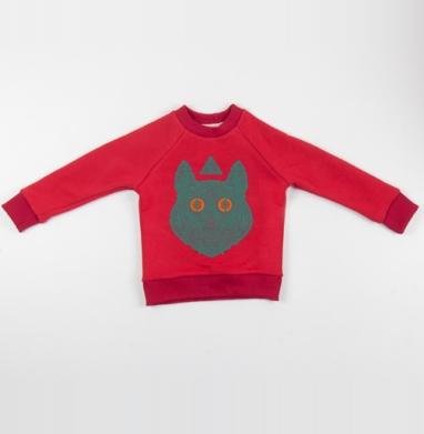 Cвитшот Детский красный 340гр, теплый - Всевидящий кот