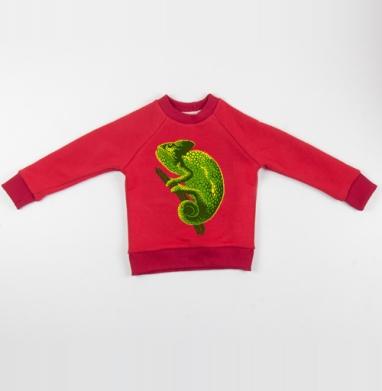 Cвитшот Детский красный 340гр, теплый - Хамелеон