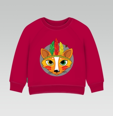 Cвитшот Детский темно-красный 340гр, теплый - Фокс