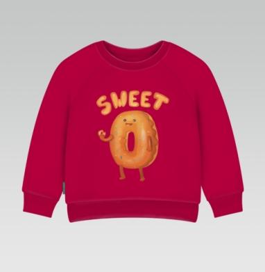 Cвитшот Детский темно-красный 340гр, теплый - Любитель пончиков