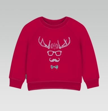 Cвитшот Детский темно-красный 340гр, теплый - Рога-копыта