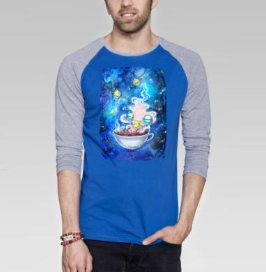 Чайная вселенная - Футболка мужская с длинным рукавом синий / серый меланж, Иллюстация