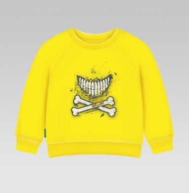 Костяная улыбка (гранж версия), Cвитшот Детский желтый 240гр, тонкая